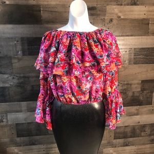 Forever 21 Floral Top Crop Red Purple L